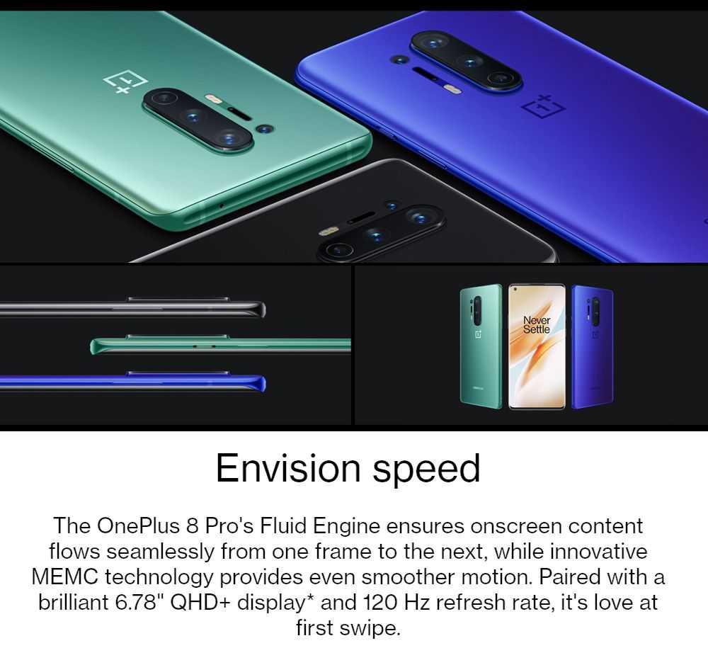OnePlus 8 Pro 6.78 Inch Screen 5G Smartphone Qualcomm Snapdragon 865 Octa Core 12GB RAM 256GB ROM Android 10.0 Dual SIM Dual Standby Global ROM - Onyx Black