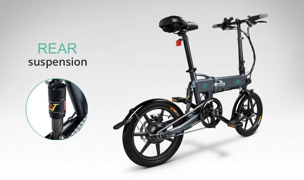 FIIDO D2 Folding Electric Moped Bike City Bike Commuter Bike Three Riding Modes 16 Inch Tires 250W Motor 25km/h 7.8Ah Lithium Battery 20-35KM Range - Dark Gray