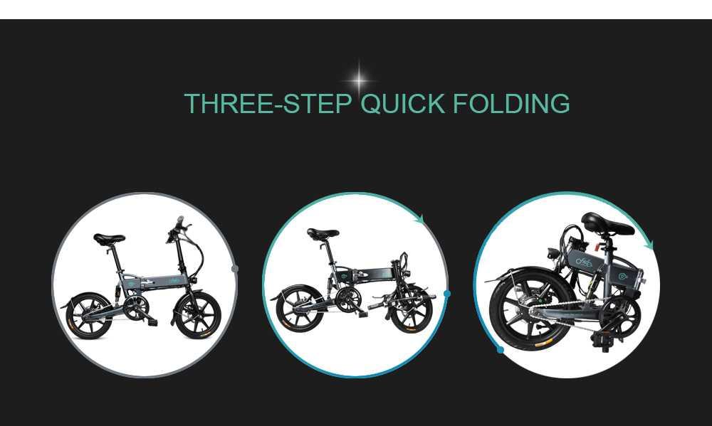 FIIDO D2 Folding Electric Moped Bike Three Riding Modes 16 Inch Tires 250W Motor 25km/h 7.8Ah Lithium Battery 20-35KM Range - Black